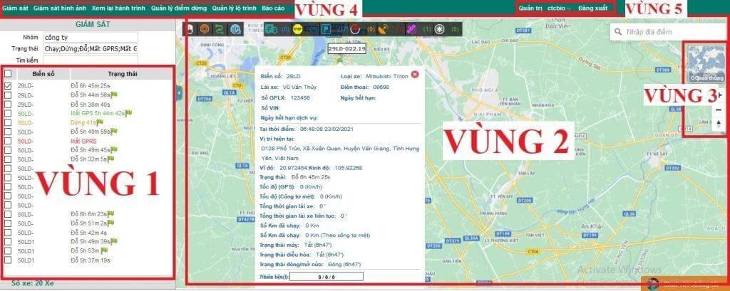Giao diện của V-Tracking Viettel chia làm 4 vùng chính.